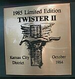 1985 Mustang GT Twister II dash plaque